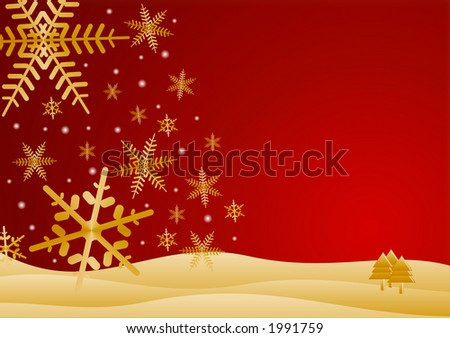 snowflakes falling on hills - warm - stock photo