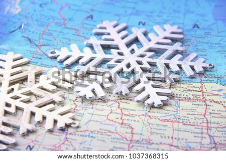 Snowflakes in USA map. This photo can use as winter background.  #1037368315