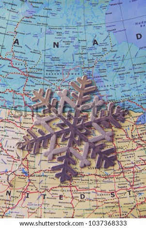 Snowflakes in USA map. This photo can use as winter background.  #1037368333