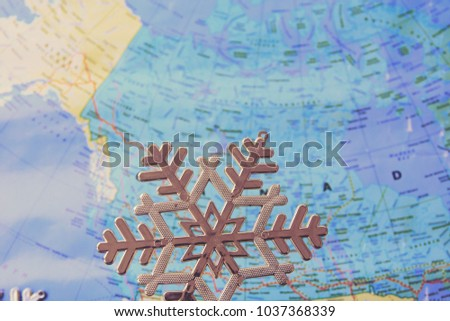 Snowflakes in USA map. This photo can use as winter background.  #1037368339