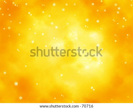 Snowflakes on a bright yellow orange clouded sky.
