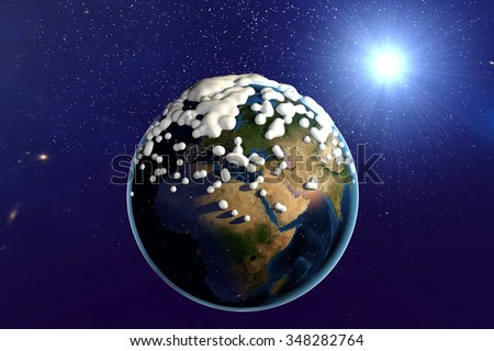 Snowing. The planet Earth from space showing Africa, Arabian Peninsula, Europe and Asia. The globe is covered with snow. Fantastic background. Elements of this image furnished by NASA