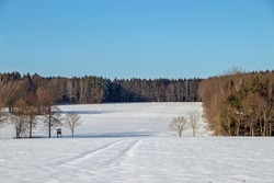 Snowlandscape in Germany with high seat for animal observation