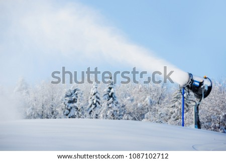 Snowmaking is the production of snow on ski slopes. #1087102712