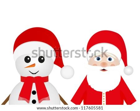 Snowman and Santa Claus look out on a white background