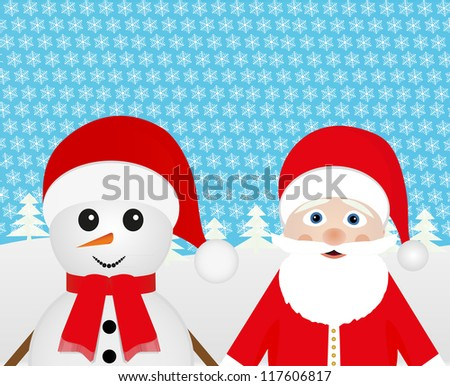 Snowman and Santa Claus peeking out of the woods - stock photo