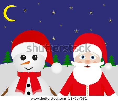 Snowman and Santa Claus peeking out of the woods at night