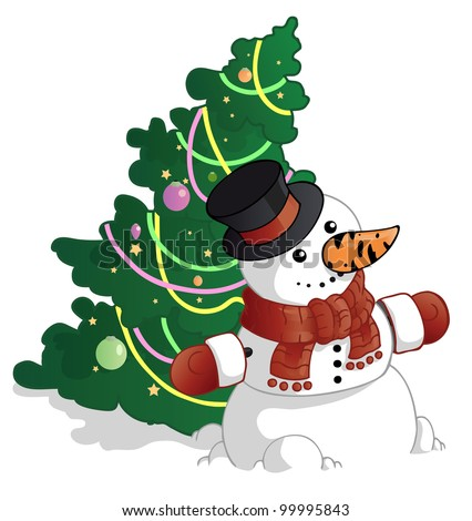 snowman and the christmas tree