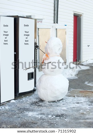 Snowman at a soda machine with room for your text or images. - stock photo