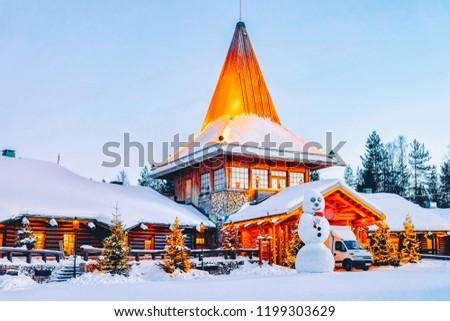Snowman at Santa Office in Santa Claus Village in Rovaniemi in Lapland in Finland.
