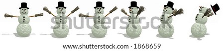 Snowman Border with wind blowing, Illustration
