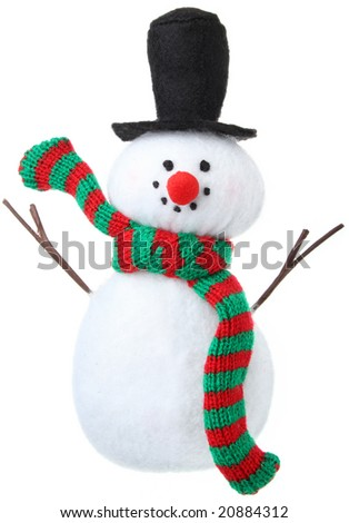 Snowman Christmas ornament isolated on white