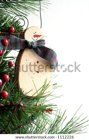 Snowman Christmas tree ornament isolated on white