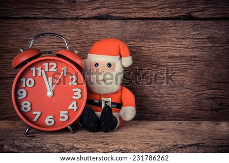 Snowman Christmas with red alarm clock , waiting time to xmas