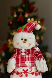 Snowman decorated for Christmas with checkered clothes and Chris