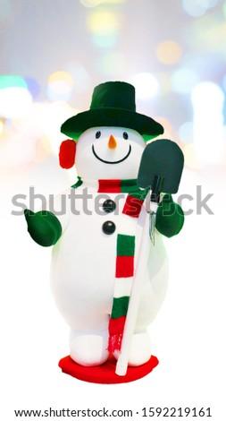 Snowman Doll on White Background, Merry Christmas Concept, Scrapbook Decorations, Scrapbook Idea