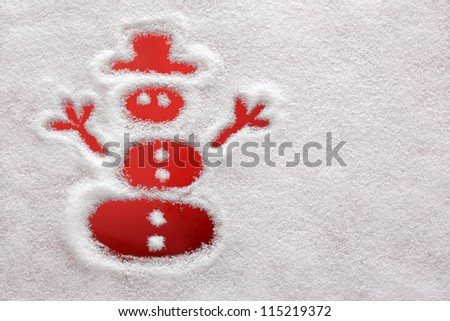 Snowman drawn in the snow with red background
