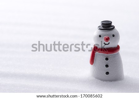 Snowman figurine in the snow