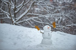 Snowman. Happy new year. Snow man in winter hat. Christmas background with snowman. Winter background with snowflakes and snowman