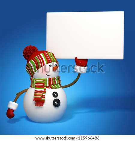 snowman holding message banner