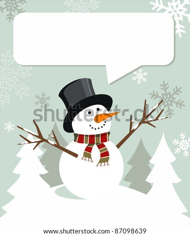 Snowman illustration wearing hat and scarf with dialog balloon on snowy background.