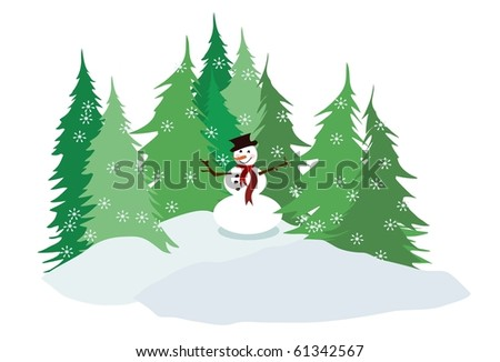 snowman illustration with falling snowflakes and pine tree farm or forest in the background isolated on white