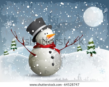 Snowman in a fullmoon night background