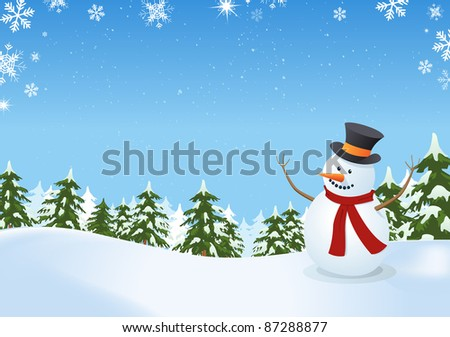 Snowman In Winter Landscape/ Illustration of a snowman inside winter landscape with pine trees, firs and space for  your message
