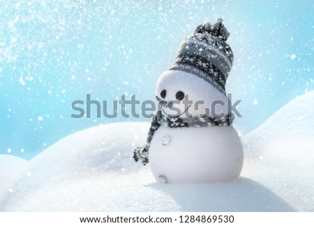 Snowman In Wintry Landscape #1284869530