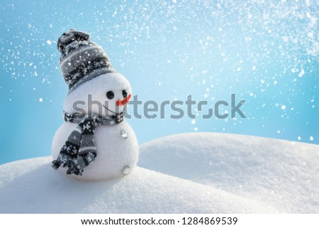 Snowman In Wintry Landscape #1284869539