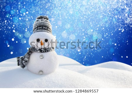 Snowman In Wintry Landscape #1284869557
