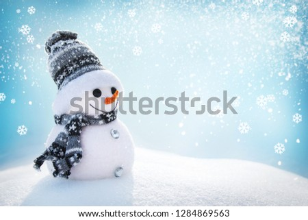Snowman In Wintry Landscape #1284869563