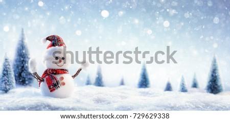 Snowman In Wintry Landscape #729629338