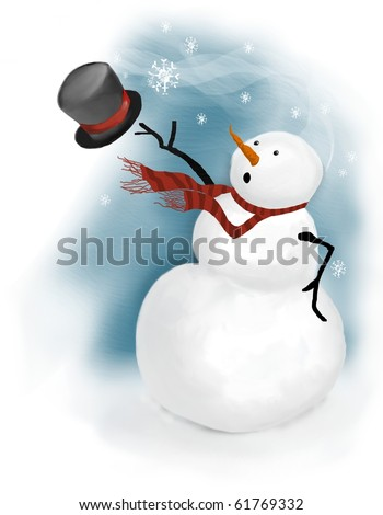 snowman is surprised on a windy day when gust of wind blows his top hat away