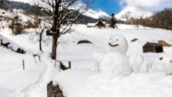 Snowman isolated in Unterwasser in Switzerland