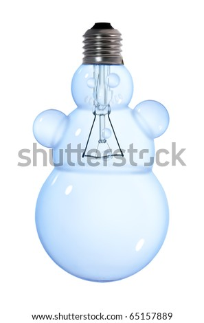 snowman lightbulb lamp on white background