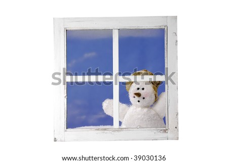 snowman looking trough a window against a blue sky. the file contains a path