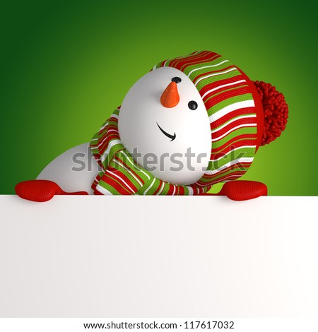 snowman looking up - stock photo