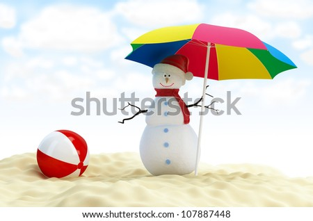 snowman on a beach beach ball