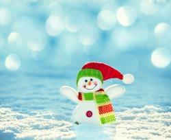 Snowman on snow. Christmas decoration. Winter