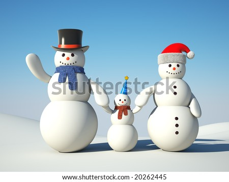 Snowman's happy family. Father, mother and son.