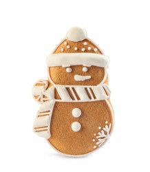 Snowman shaped Christmas cookie isolated on white