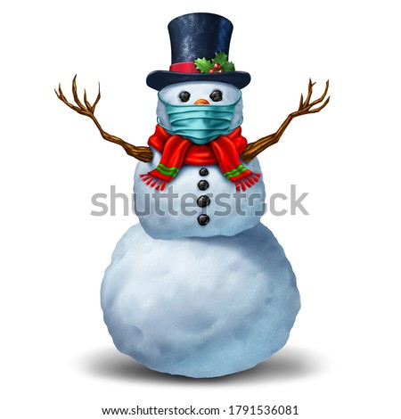 Snowman wearing a face mask concept as a winter snow man holiday season symbol for health and healthcare disease prevention as medical equipment preventing a virus with 3D illustration elements.