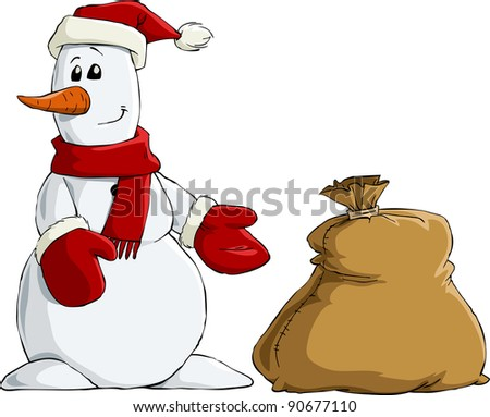 Snowman with a bag of gifts, raster