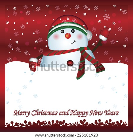 snowman with banner merry christmas and happy new year text greeting card winter holiday background ez canvas