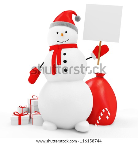 Snowman with Blank Board and Christmas Accessories isolated on white background