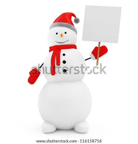Snowman with Blank Board isolated on white background