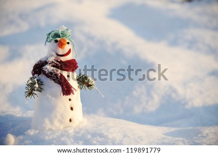 Snowman with copy space
