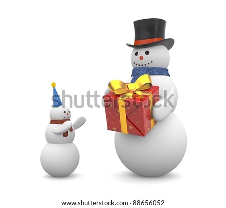 Snowman with gift. Image contain clipping path