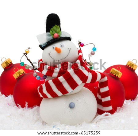 Snowman with red glass Christmas balls on snowflake background, Christmas Time